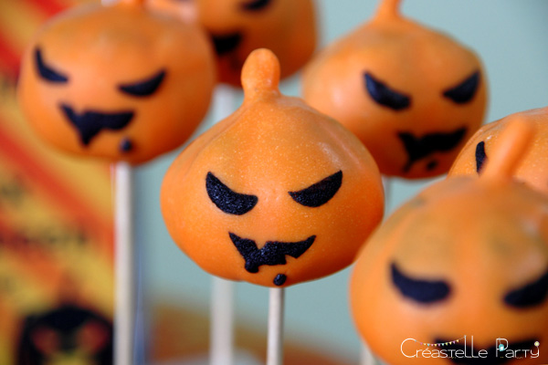 halloween sweet table - cake pops citrouilles - pumpkin
