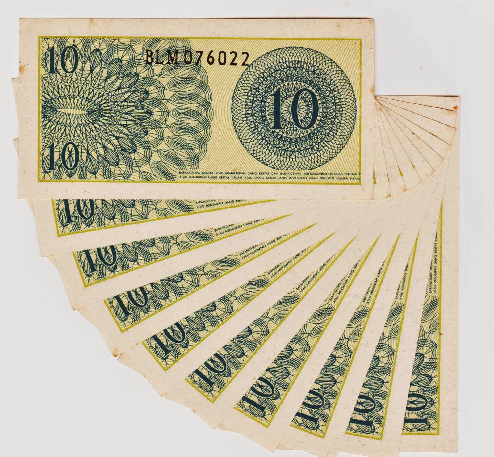uang kuno Seri Sukarelawan tahun 1968 pecahan 10 sen
