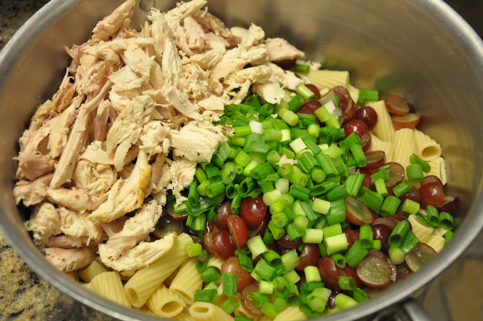 Redheadwhitefood tarragon chicken pasta salad with grapes and transfer cold noodles to a large bowl and add 1 whole bunch chopped green onions chilled shredded chicken from a rotisserie chicken careful to remove all forumfinder Choice Image