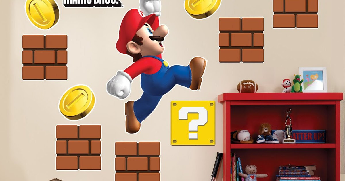 Super mario wall stickers mario kids room designs - Mario wall clings ...