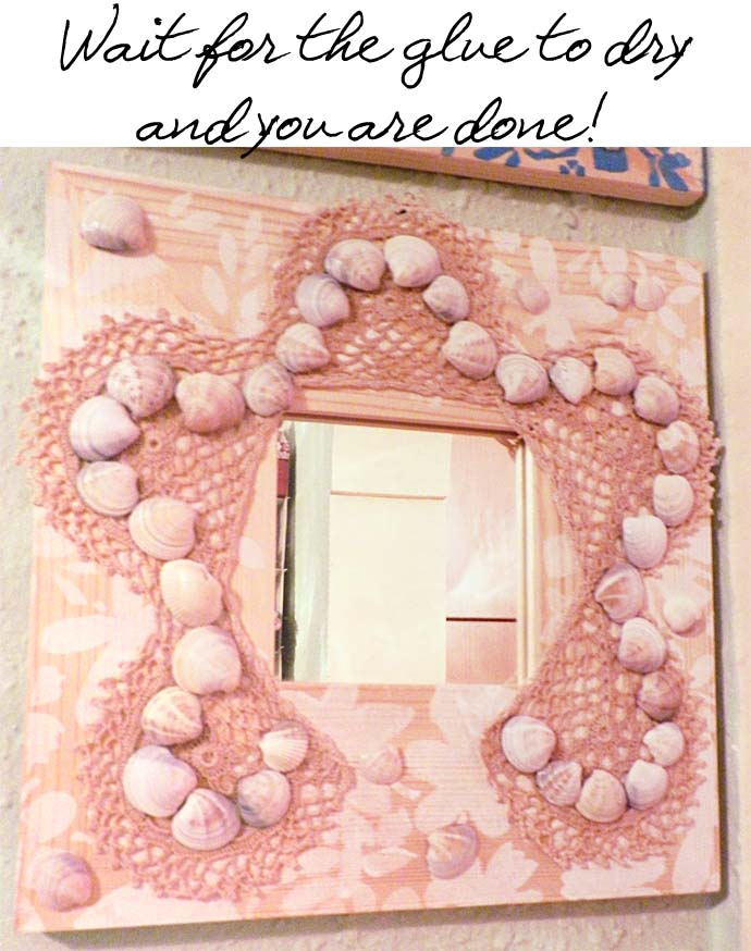 DIY project: How to glam up wooden mirror frames from Ikea using acrylic paint, crochet pieces and seashells