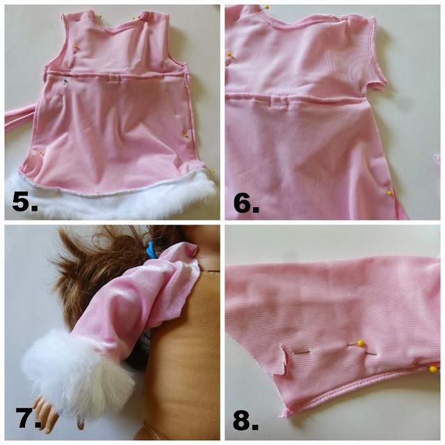 refashion a baby dress into an American Girl Doll (18 inch doll) winter princess dress