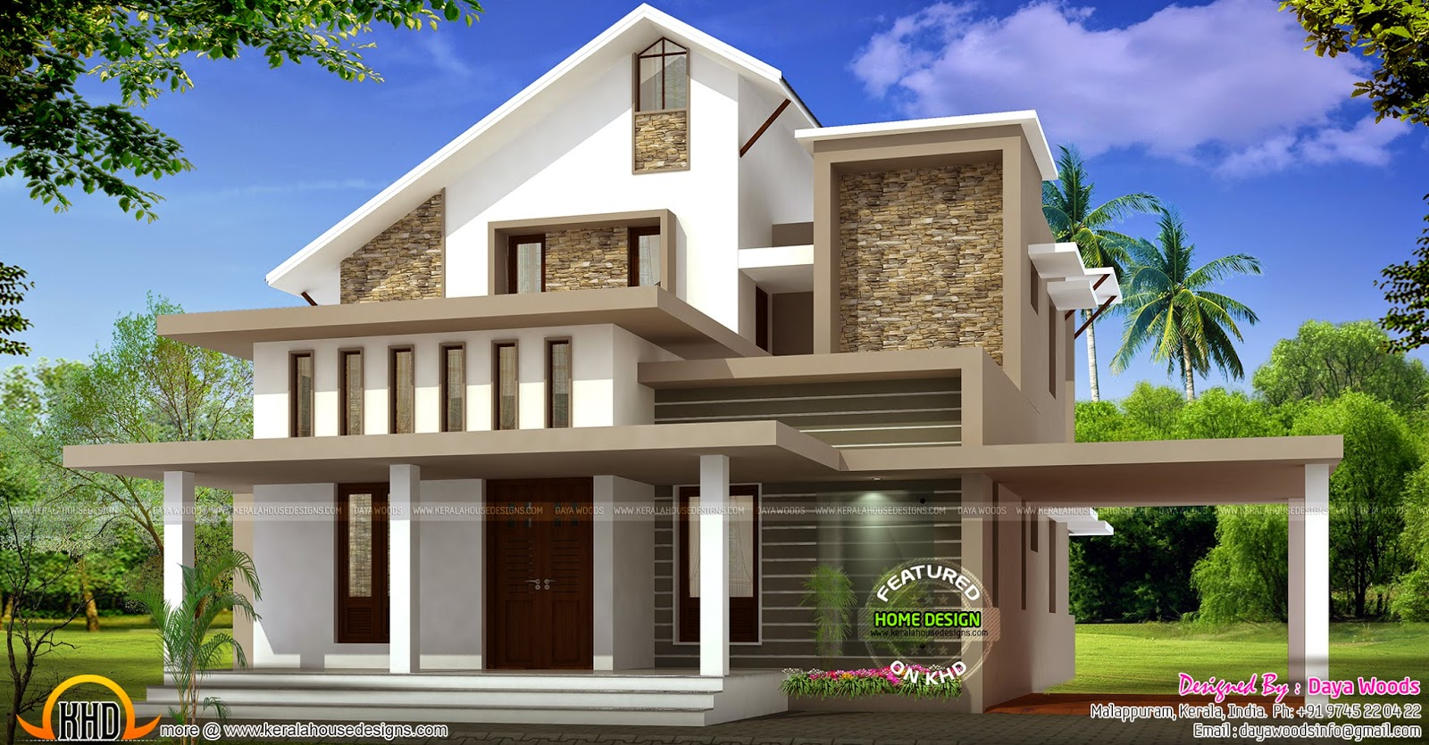 Low budget semi contemporary home kerala home design and for Semi attached house plans