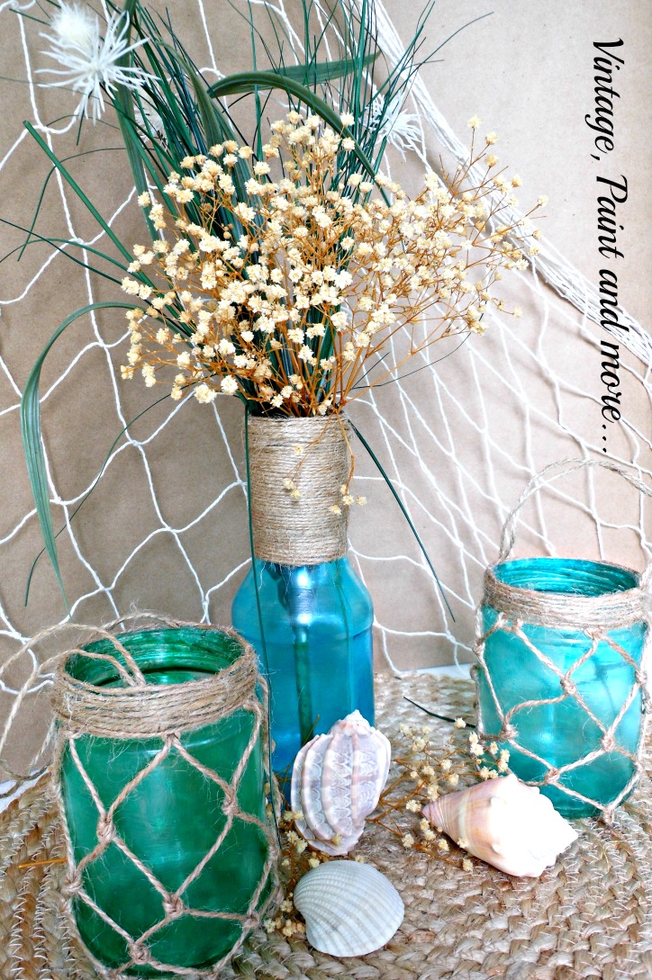 Vintage, Paint and more... Painting recycled jars with mod podge and food coloring for a faux sea glass effect