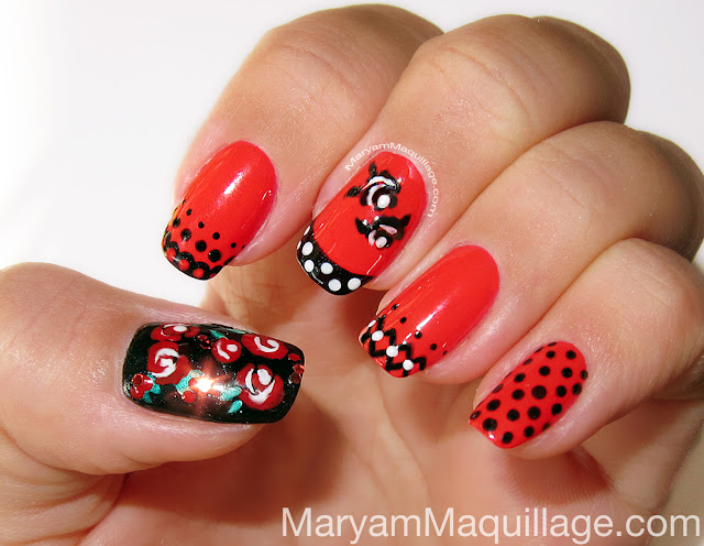 Maryam maquillage spanish rose nail art on to the nail art prinsesfo Gallery