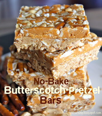 No Bake Butterscotch Pretzel Bars