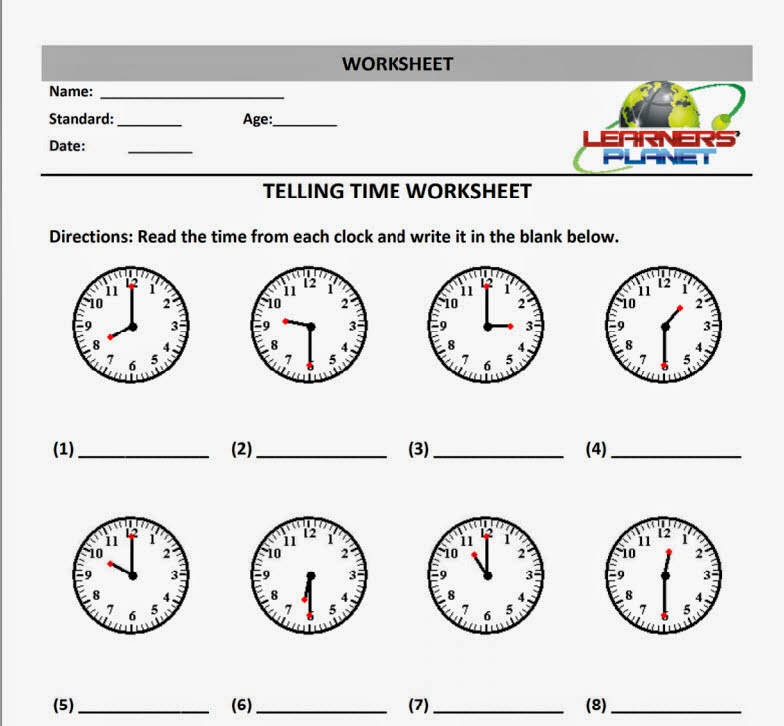 Maths Telling Time Date worksheet printables interactive quiz – Class 1 Maths Worksheets