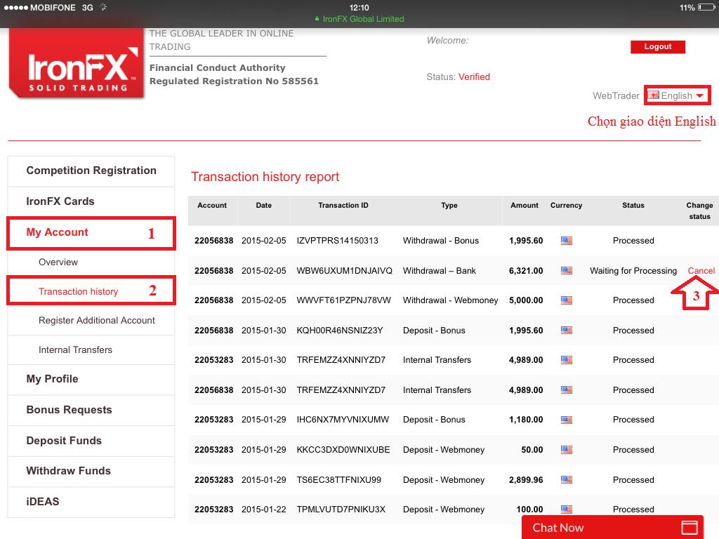 Hướng dẫn hủy lệnh rút tiền trên cổng thông tin IronFX