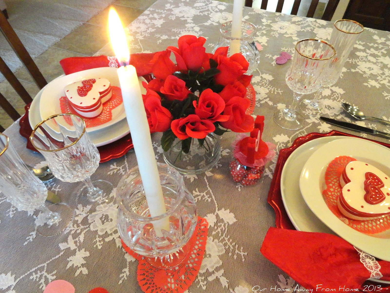 Our home away from home dollar tree valentine 39 s tablescape for Table 52 valentine s day
