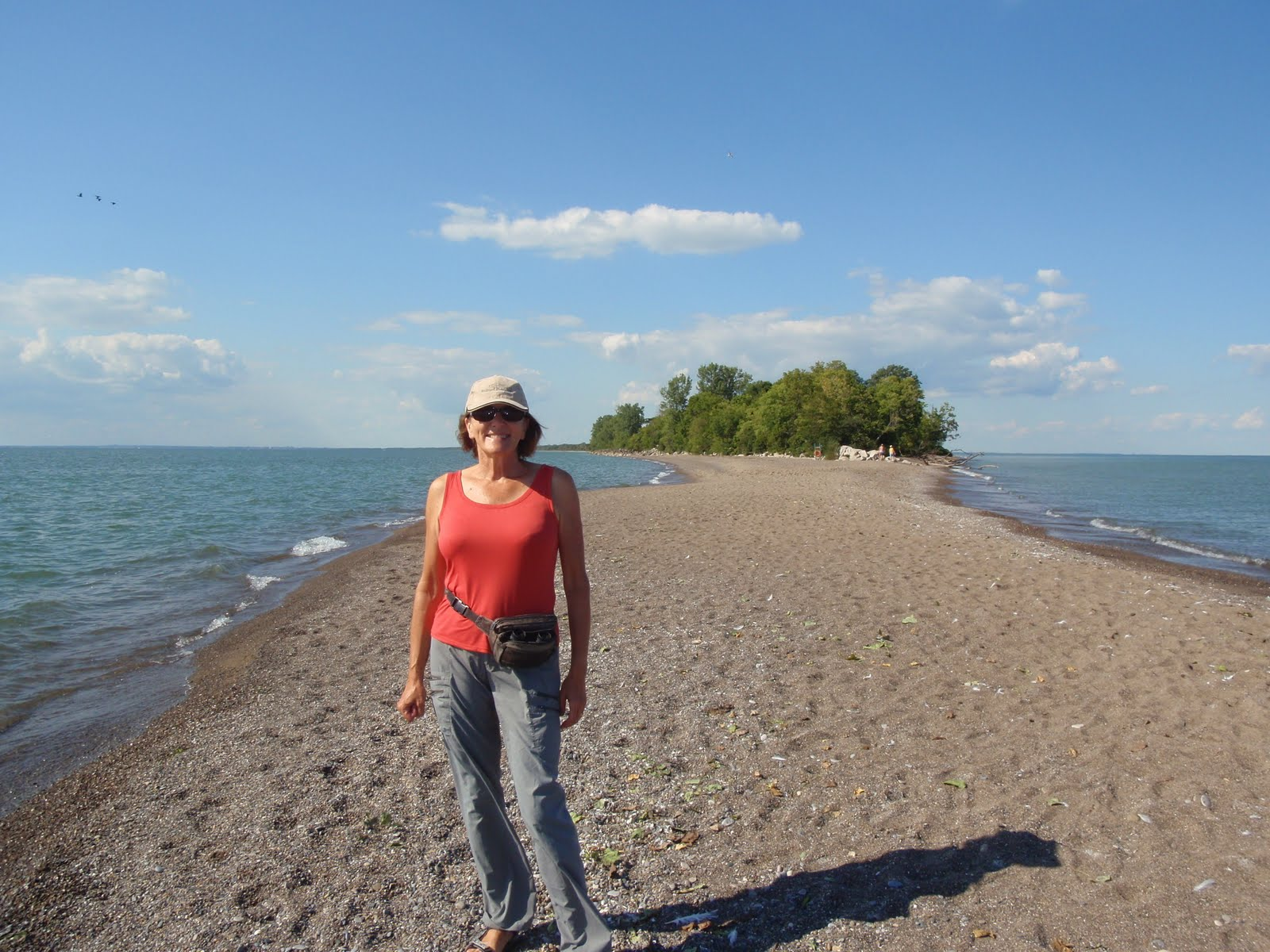 Liz facing south on the most southerly tip of mainland Canada.