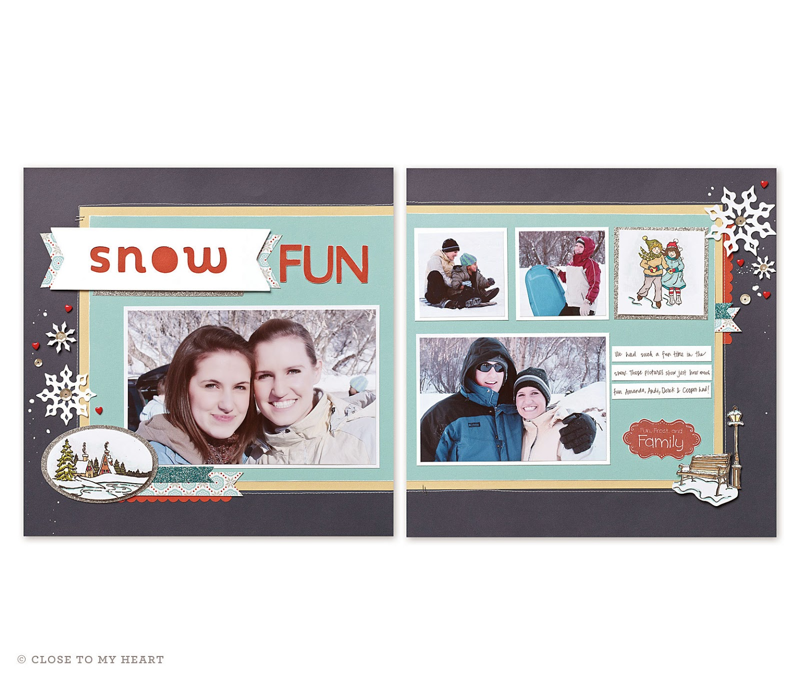 CTMH Snowhaven Paper Pack Scrapbook Layout