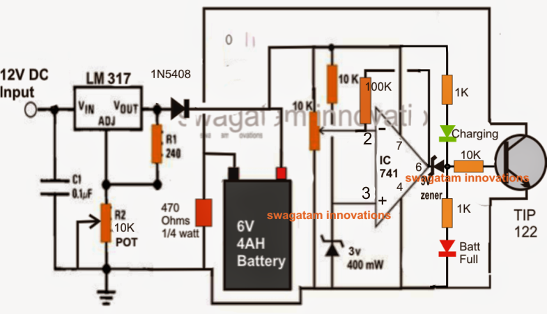 make a v ah automatic battery charger circuit without using a, circuit diagram
