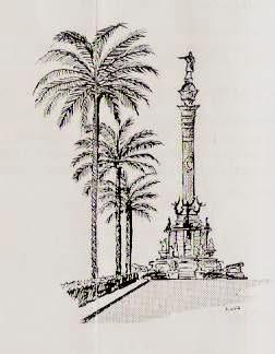 Dibujo del monumento a Cristóbal Colón de Barcelona