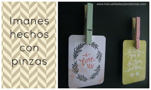 Tissue tape: Imanes hechos con pinzas / Clothespin magnets