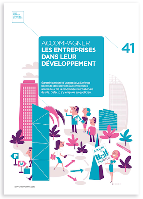 Clod illustration rapport d'activité Defacto, Paris La Défense