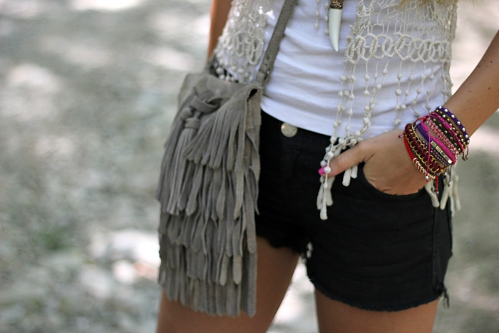 boho chic, fringes, denim shorts, armcandy