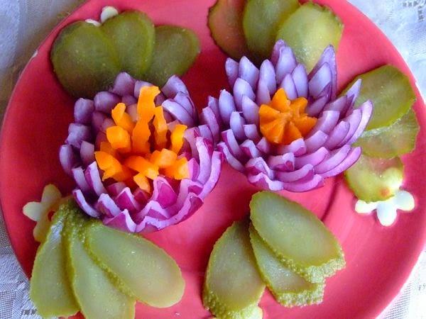 украшения из овощей для салатов с фото