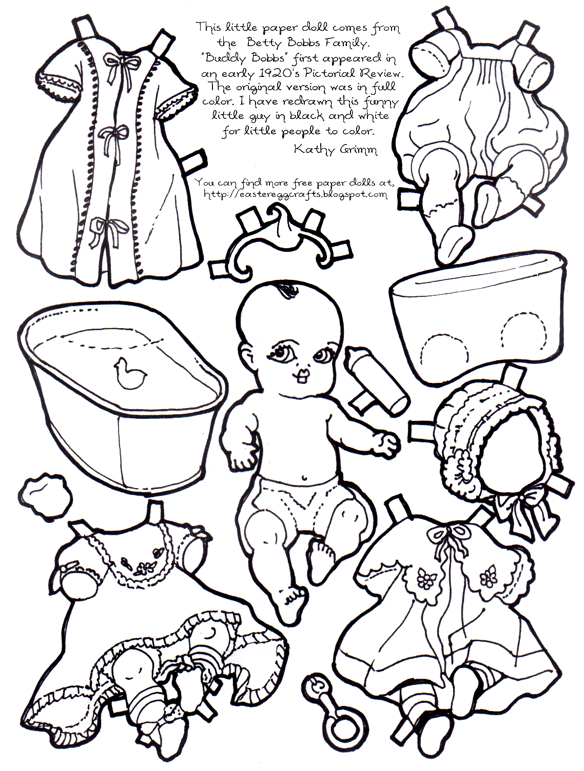A Paper Baby To Color And Cut Out Easter Egg Crafts