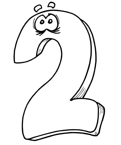 2 number coloring pages | Cartoon Kids Coloring Pages