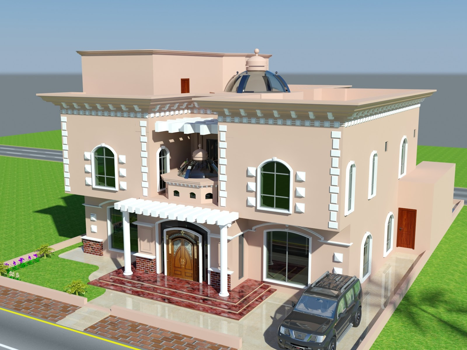 3d front for Villa interior design in pakistan