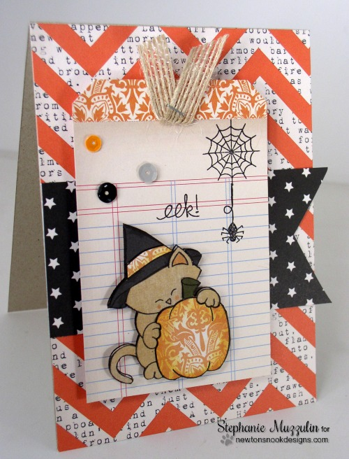 Cat Halloween Card by Stephanie Muzzulin for Newton's Nook Designs | Newton's Perfect Pumpkin Stamp Set