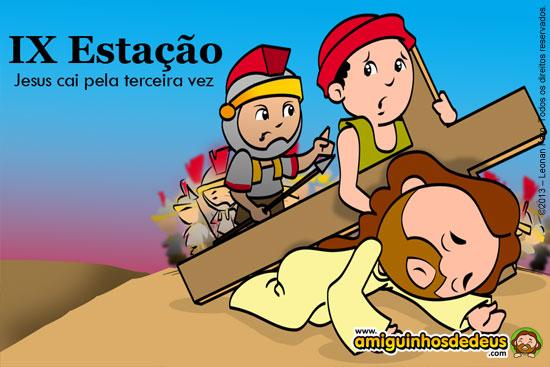 Via Sacra desenho Nona Estação - Jesus cai pela terceira vez