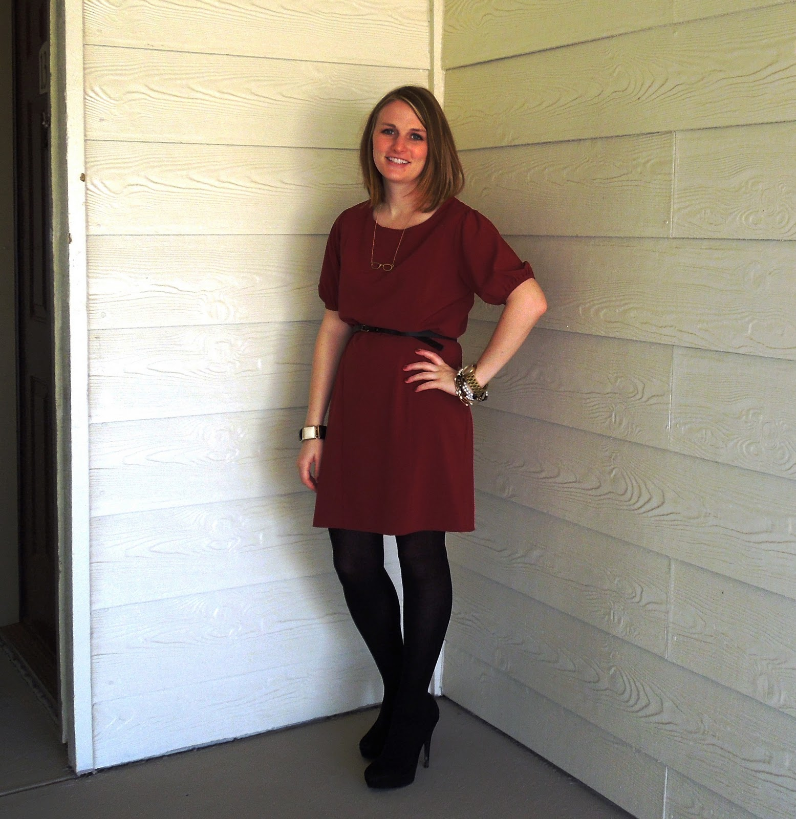 Black dress with touch of red - Final Touch Red Dress Strut Black Leather Belt J Crew Factory Store Black Tights Forever Xxi Lc Lauren Conrad Black Platform Pumps Kohl S