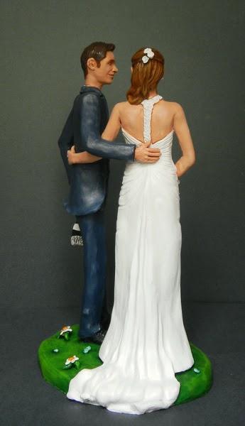 sposini cake topper realistici fatti a mano abito sposa elegante orme magiche