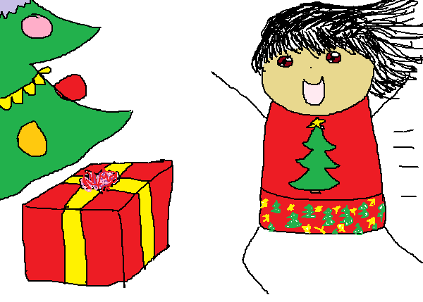 A kid dressed in Christmas pyjamas running towards the Christmas tree and Christmas present.