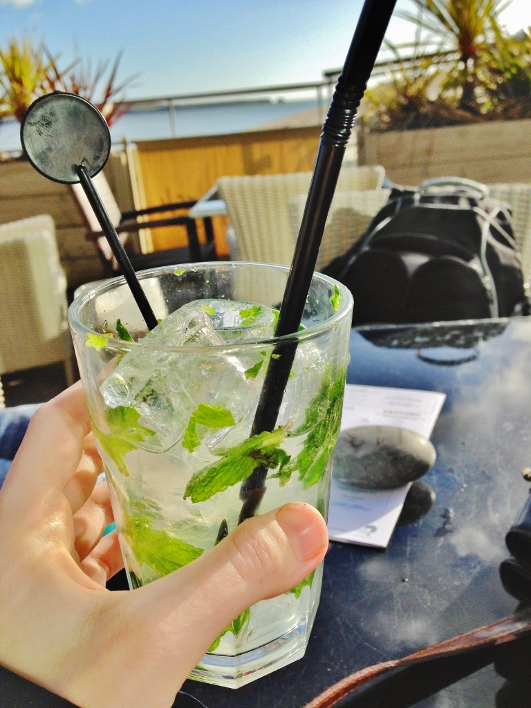 mojito cocktails by tenby beach