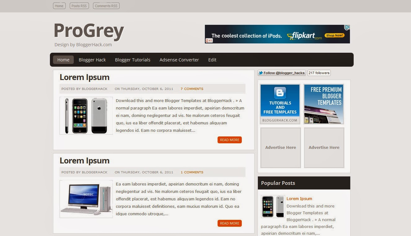 Pro Gray Blogger Template Free Download