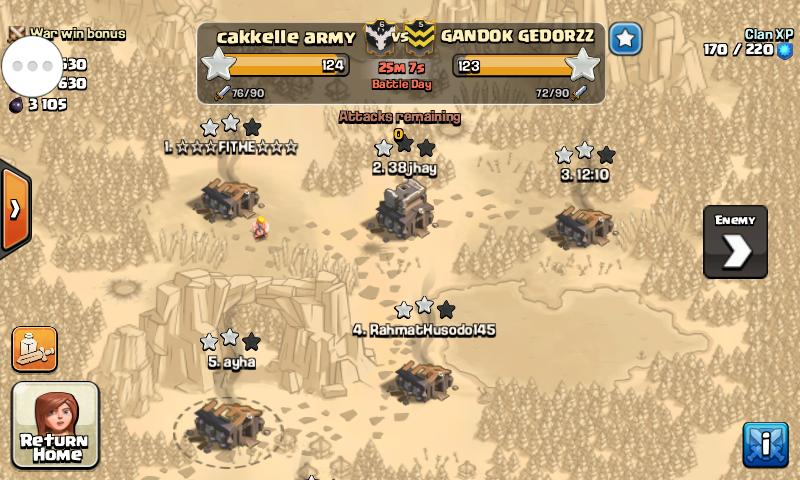 jadi sebagai tips dan trik untuk memenangkan clan war adalah kompak ...