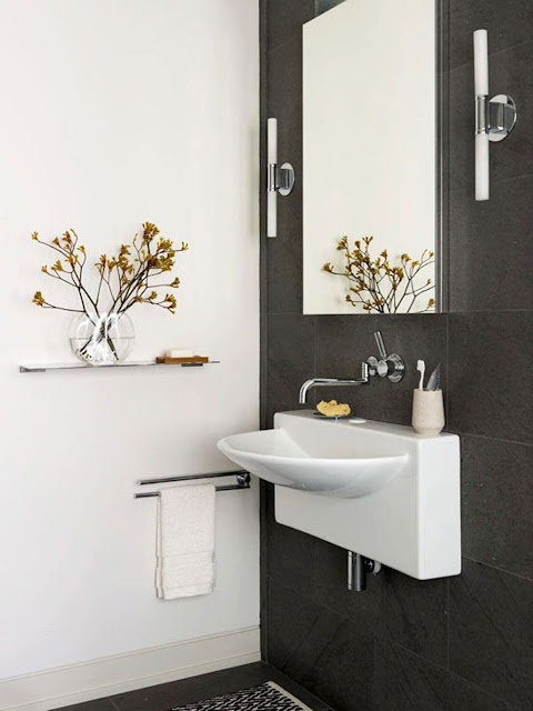 an inspiring white wall mounted bathroom sinks on black ceramic wall with white lacquered washbasin and modern square mirror