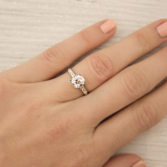 Simple wedding ring on finger a vintage engagement ring