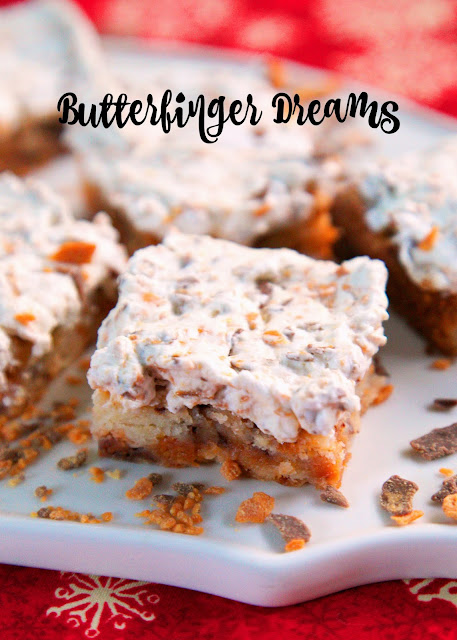 Butterfinger Dreams - only 6 ingredients! Butterfinger shortbread topped with Butterfinger whipped cream. They are heavenly! I ate way too many of these!