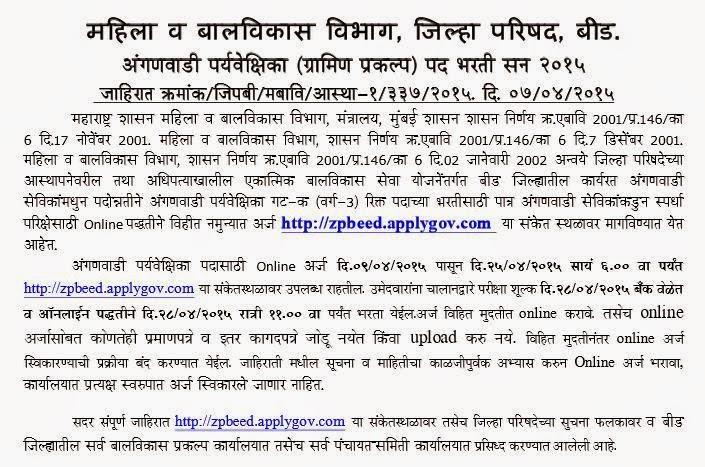 Anganwadi Supervisor's Required at Mahila Bal Vikas, Beed 2015
