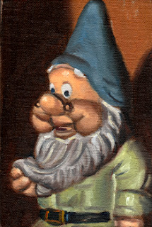Oil painting of a garden gnome with a blue hat and green shirt.