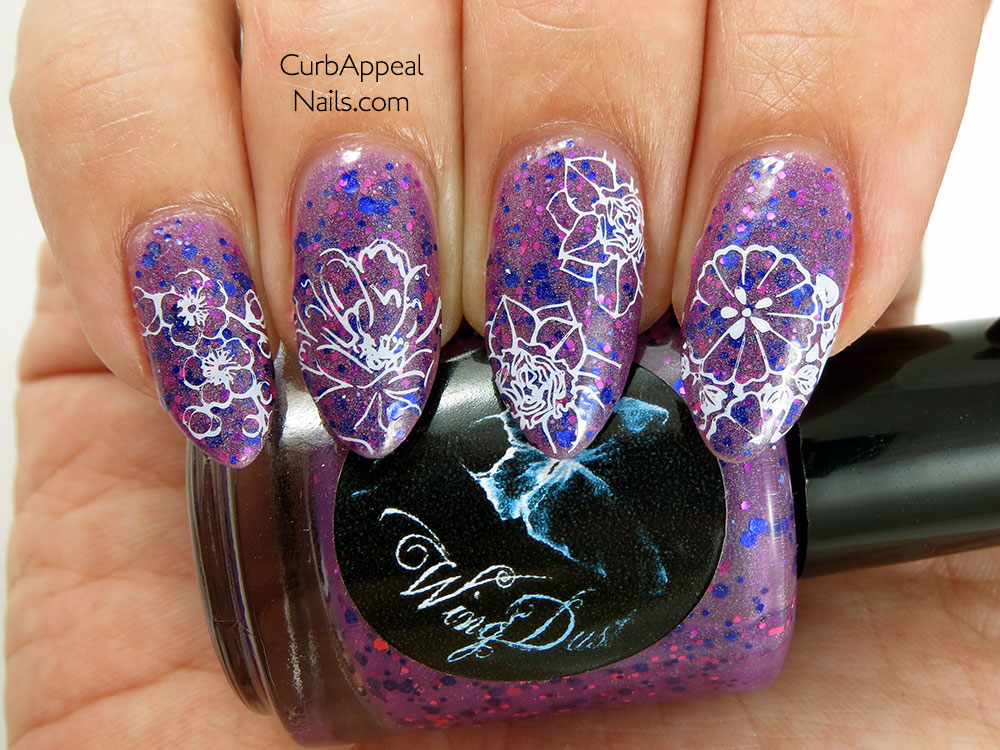 Wing Dust Orchid You Not! stamped with Born Pretty Store Qgirl Plate 022