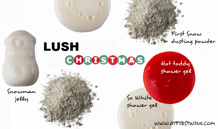 Lush Christmas 2014 collection: shower jelly, shower gels, and body dusting powder