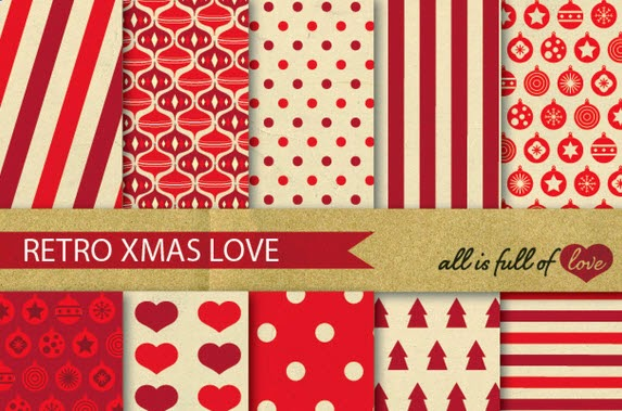 Red Christmas Digital Paper Pattern