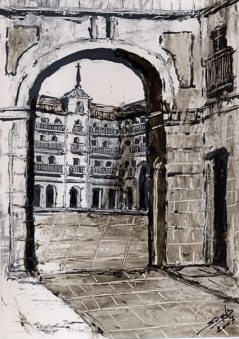 Vista del Arco de Cuchilleros de la Plaza Mayor de Madrid