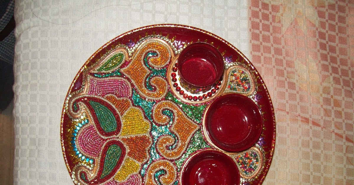 Anu 39 s art and crafts thali decoration for Aarti thali decoration with rice
