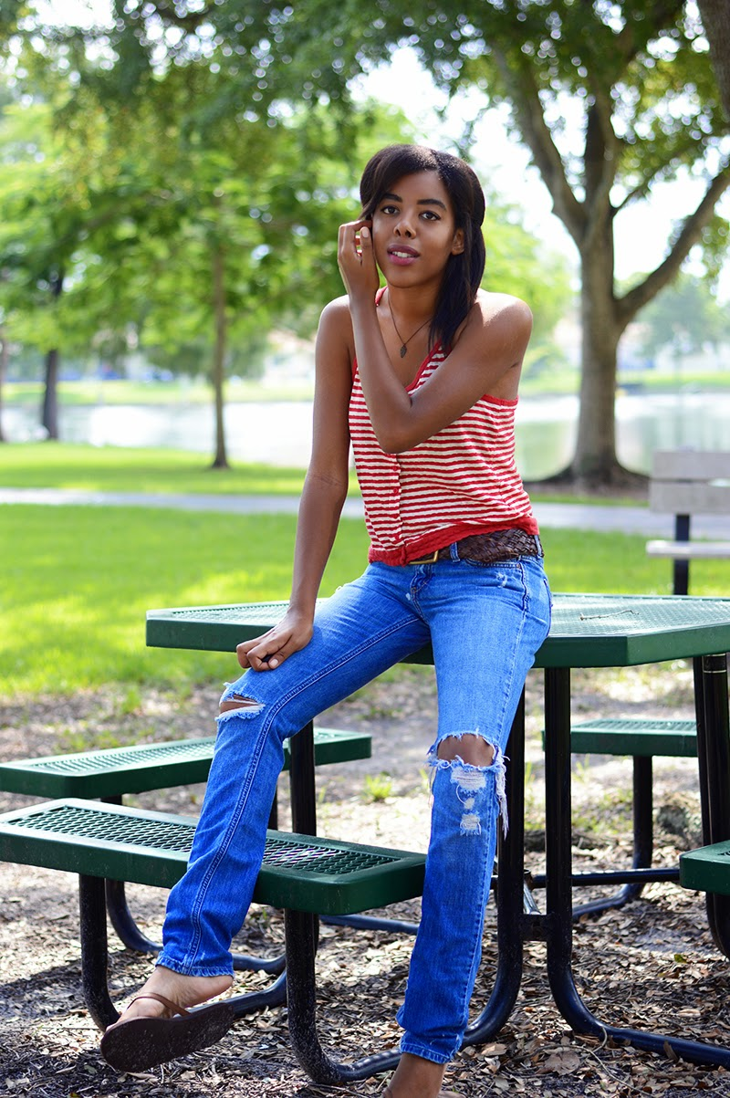 Miami Fashion Blogger Anais Alexandre of Down to Stars in a Cooperative red striped top and Abercombie jeans belt and sandals
