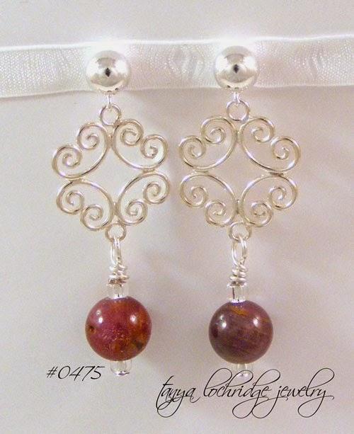 Tanya Lochridge Jewelry Ruby Gemstone Filigree Sterling Silver Drop Earrings