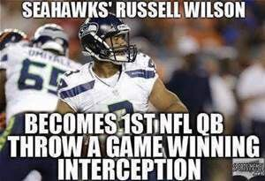 seahawks' russell wilson becomes 1st nfl qb throw a game winning interception