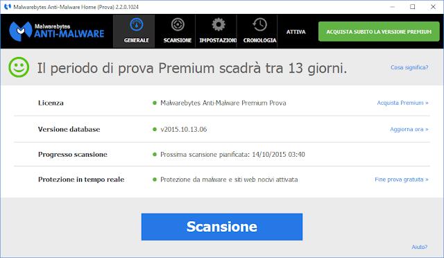 Malwarebytes Anti-Malware 2.2 su Windows 10