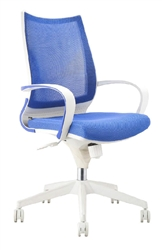 Blue Mesh Back Office Chair with White Frame