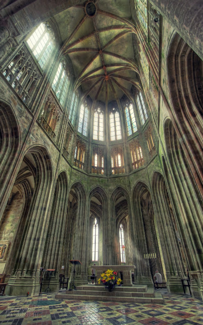 Abbey church Mont St. Michel, France on Presenting The Wonder