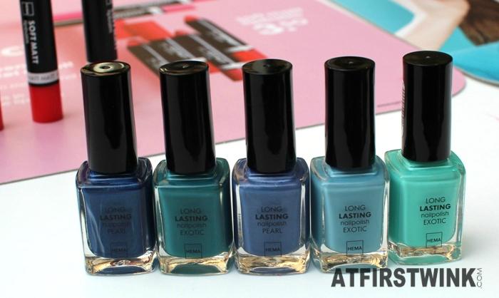 HEMA Long Lasting nail polishes Exotic and pearl - greens and blues