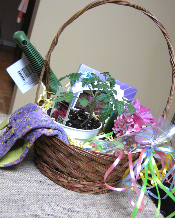 Sohl design gardening easter basket as much as i enjoy making gift baskets i enjoy receiving them as well look at this adorable gardening themed easter basket that aunt mary gave us negle Choice Image